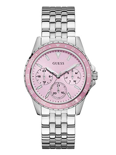 GUESS Stainless Steel + Pink Bracelet Watch with Day, Date + 24 Hour Military/Int'l Time. Color: Silver-Tone (Model: - Guess Pink Watch