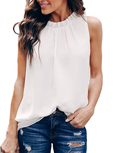 Allimy Women Summer Casual High Neck Chiffon Sleeveless Tank Tops Fashion Blouses 2018 White Medium