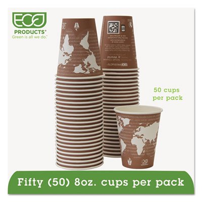 World Art Renewable Resource Compostable Hot Drink Cups, 8oz, Plum, 50/Pack, Sold as 1 Package, 50 Each per Package