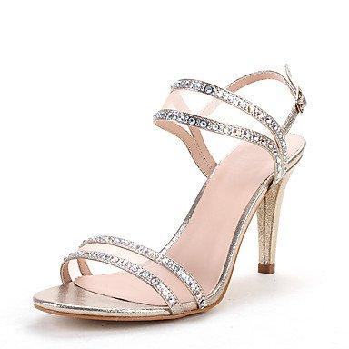RTRY Sandalias Mujer Anillo Toe Glitter Net Verano Otoño Boda Vestido De Noche &Amp; Rhinestone Conjunto Dividido Stiletto Talón Plata Oro Negro US7.5 / EU38 / UK5.5 / CN38
