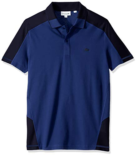 - Lacoste Men's S/S Colorblock Pique PIMA Leger Relax FIT, Captain/Navy Blue, Medium