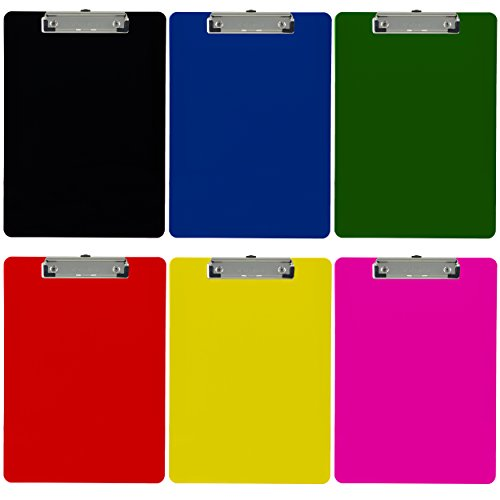 Trade Quest Plastic Clipboard Opaque Color Letter Size Low Profile Clip (Pack of 6) (Hanging Clipboard)