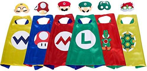 Fuovt Super Mario Costumes for Kids Mario Costumes for Boys Mario Cape and Mask Set for Mario Party Supplies 6 Pack Yoshi Costume