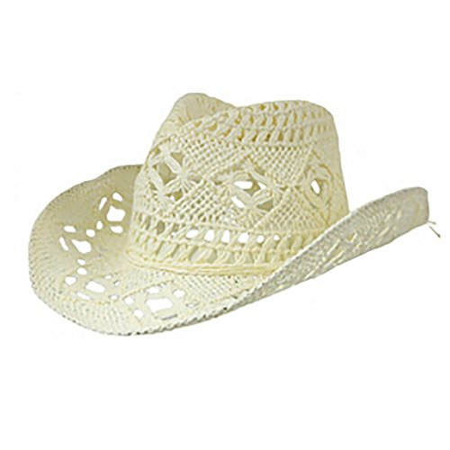 Summer Hats for Women, Solid Straw Hat Hollow Out Cowboy Caps, Beach Sun Hat by August Jim (Image #1)