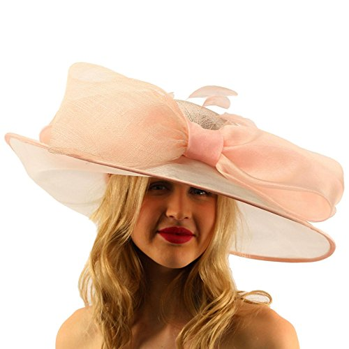 "Passionate Sinamay Organza Big Ribbon Derby Floppy Wide Brim 7"" Dress Hat"