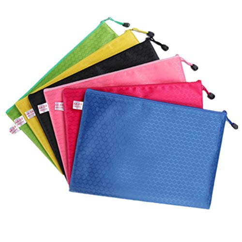 Swesy 6 Pcs 6 Colors A4 Zipper Mesh File Paper Document Folder Zip Bags Storage Pouch Organizer, Office Supplies, Travel Storage Bags