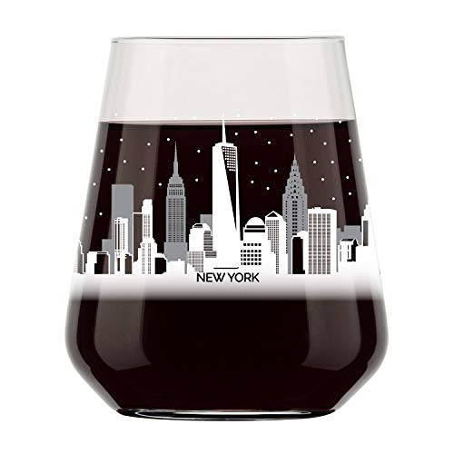 New York City Skyline Stemless Wine Glass- Cool NYC Souvenir or gift for traveler- Nostalgic Cityscape I Love New York Souvenirs- Dishwasher Safe, Non-Toxic, Organic Ink Printed in ()