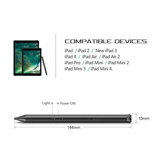 iPad Stylus Pen,Active Capacitive Digital Pens Supporting 40-Hour Playing Time 30-Day Stand 120-second Auto Power Off 3 Replaceable Fine Point Rubber Tips Touchscreen Styli iPad by Heiyo (Image #1)