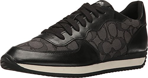 Coach Womens Farah Low Top Lace up Fashion Sneakers, Black, Size 7.5