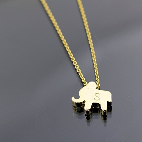 An Elephant Necklace 16k Gold -Plated Dainty Hand stamped Personalized Initial Charms Gold cute Animal Necklace