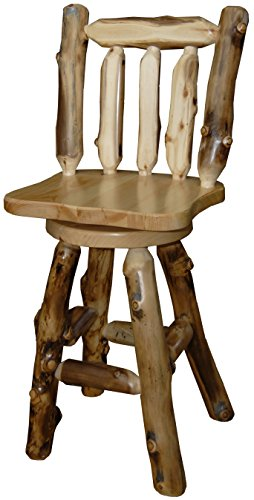 *Set of 2* Rustic Aspen Log 24' Swivel Bar Stool