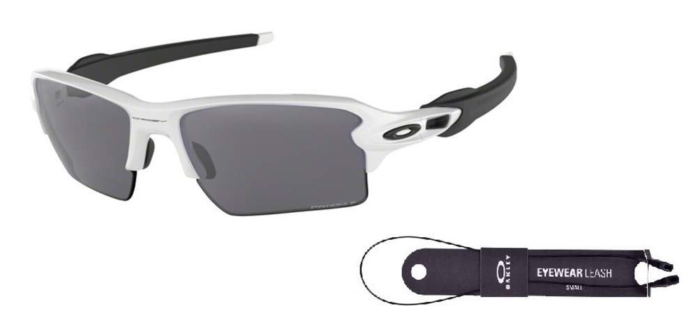 Oakley Flak 2.0 XL OO9188 918881 59M Polished White Black Temple/Black Prizm Polarized Sunglasses For Men+BUNDLE with Oakley Accessory Leash Kit by Oakley