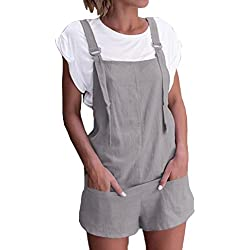 Women Overalls and Jumpers Elastic Waist Dungarees Linen Cotton Pockets Rompers Jumpsuit Denim Shorts Pants (Gray, M)