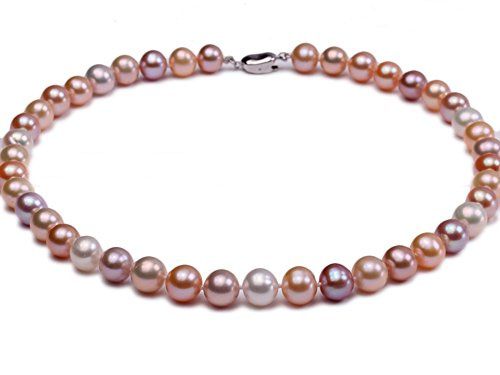 JYX 10-11mm AAA Multi-color Round Freshwater Pearl Necklace Strand