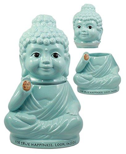 Ebros True Happiness Eastern Enlightenment Medicine Buddha Ceramic Cookie Jar 10.75