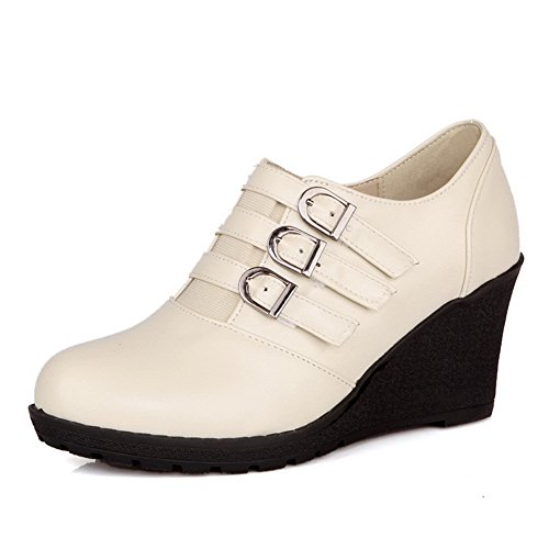 Pu Bianco Solido Toe Heels Low Womens Solide Metallo Materiale Round Fibbie Con In Pompe Voguezone009 6w0qXp
