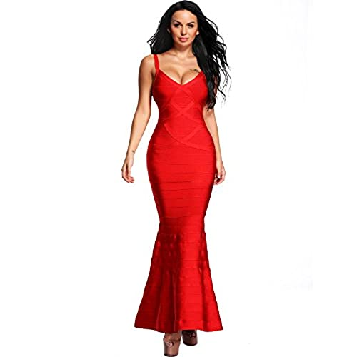 Hego Womens V-Neck Backless Fishtail Red Bandage Formal Evening Dresses Long H2082 (S, Red)