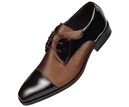 Amali Mens Two Tone Metallic and Black Patent Cap Toe Oxford, Lace-Up Tuxedo Dress Shoe