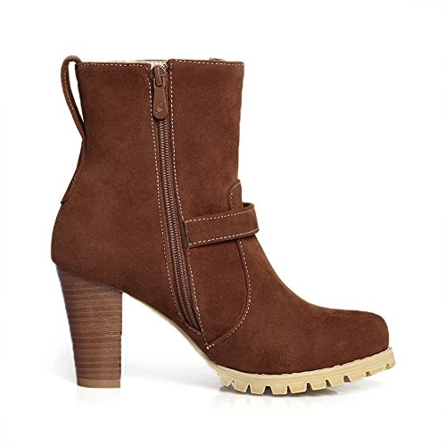 Brown 1TO9 Chunky Zipper Frosted Boots Buckle Womens Heels 0awz0