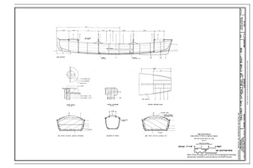 Historic Pictoric Blueprint Diagram Sections and Hatch Details - Galloway Type Boat Cataract Boat Stone Boat, Grand Canyon, Coconino County, AZ 12in x - Stone Canyon Grand