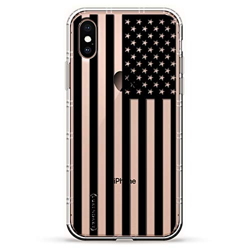 B&W USA FLAG | Luxendary Air Series Clear Silicone Case with 3D printed design and Air-Pocket Cushion Bumper for iPhone Xs Max (new 2018/2019 model with 6.5