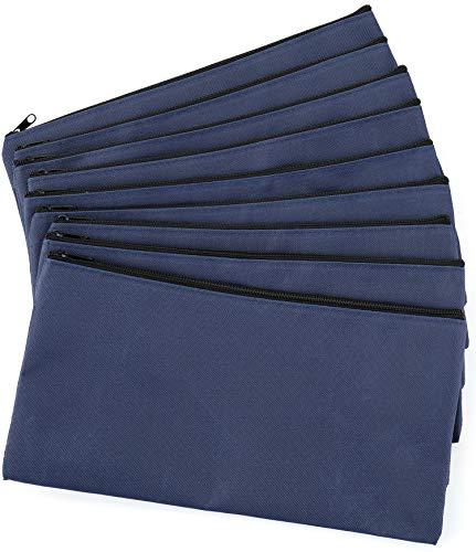 Lawei 9 Pack Bank Bags Money Pouch - 11 x 6 inch Zipper Coin Bag Security Deposit Bag, Navy Blue