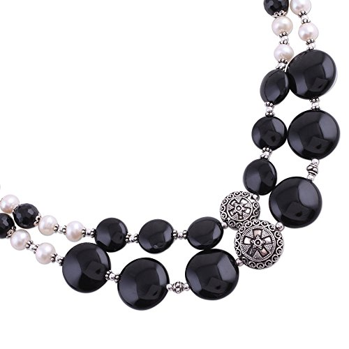 - NOVICA Onyx Cream Cultured Freshwater Pearl .925 Sterling Silver Strand Necklace, Midnight Dreams'