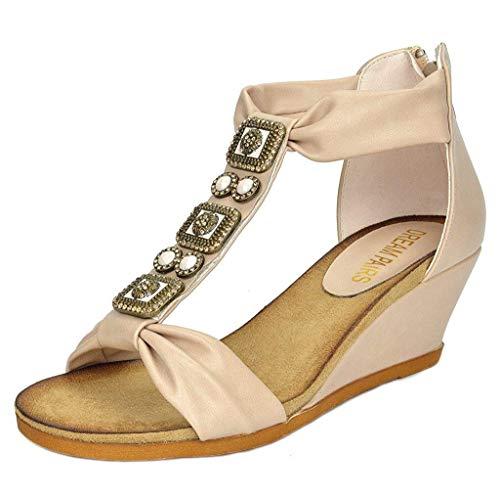 (DREAM PAIRS Aztek New Women's Summer Fashion Design Ankle Low Wedge Platform Heel Sandals Beige Size 10)