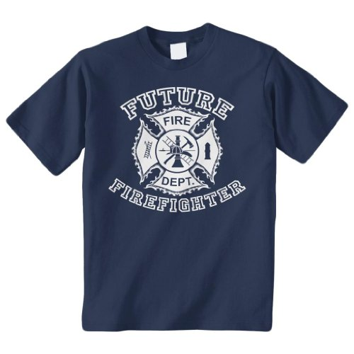 Threadrock Big Boys' Future Firefighter Youth T-Shirt M Navy (Firefighter Kids)
