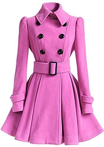 (JOKHOO Women Swing Double Breasted Wool Pea Coat With Belt Buckle Spring Mid-Long Long Sleeve Lapel Dresses Outwear (Rose, XL))