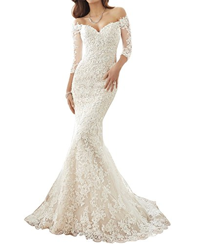 JinXuanYa Women's Sweetheart Mermaid Wedding Dresses Lace Long Bridal Gowns£¨White£¬US6£ ()