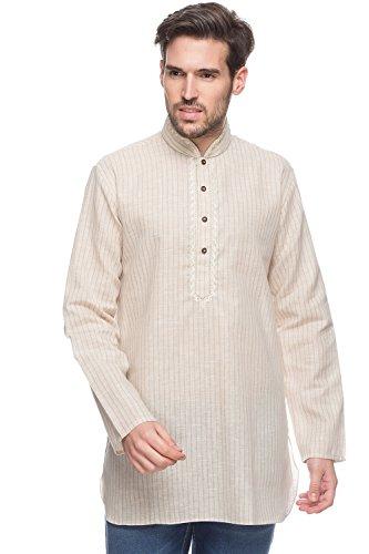 Shatranj Men's Indian Mid-length Kurta Tunic Fine Embroidered Placket Pin Stripe Shirt; Beige; (Mens Tunic Shirts)