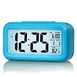 Smart Digital Morning Alarm Clock, Samyoung Soft Light Sensor Technology Home Electronics Date Temperature Display Progressively Louder Waking Alarm Big LCD Screen Repeating Snooze Function -Blue