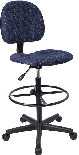 """Flash Furniture Navy Blue Patterned Fabric Drafting Chair (Cylinders: 22.5""""-27""""H or 26""""-30.5""""H)"""