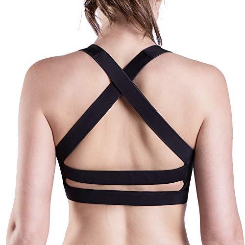 Women Sports Bra,High Impact Support Strappy X Pad Mesh Wireless Yoga Dance Bras - Ladies Bra Sports