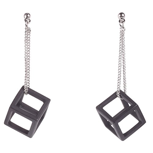 Black Hollow Cube Dangling Earring by (Hematite Pattern Earrings)