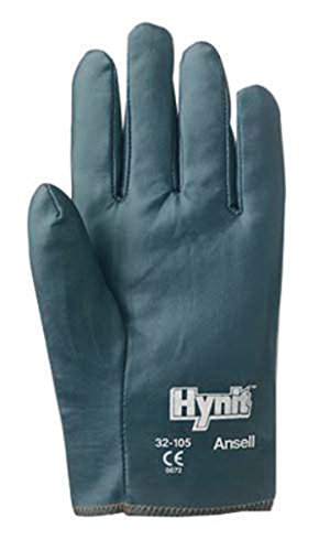 Ansell 208028 Size 7 1/2 Hynit Medium Duty Multi-Purpose Cut And Abrasion Resistant Blue Nitrile Impregnated Fabric Perforated Back Coated Work Gloves With Interlock Knit Liner And Slip-On Cuff (1/PR) (Work Impregnated Glove)