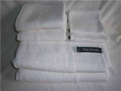 VERA WANG Towel Set White Diamond Pattern 100% Cotton NWT 2 Bath, 2 Hand 2 Washcloths by Vera Wang