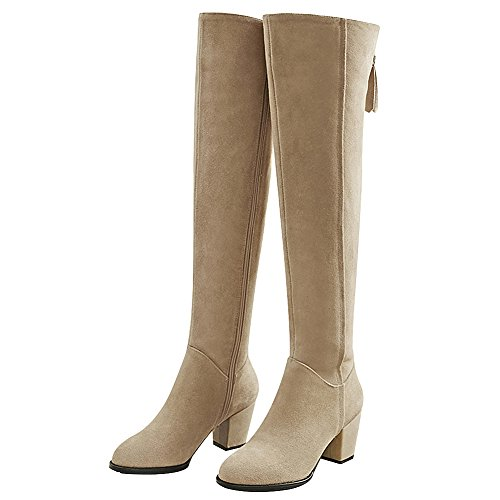 Suede Heel Fashion Almond Knee rismart Boots Women's Leather High Chunky qwUSHAB