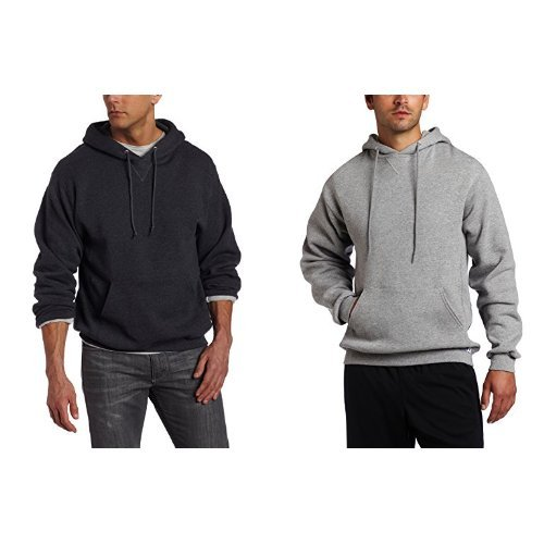 Russell Athletic Men's Dri-Power Pullover Fleece Hoodie ,Black Heather/Oxford,4XL
