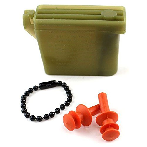 Vanguard Military Ear Plugs with Chain and Case (Orange, Medium)