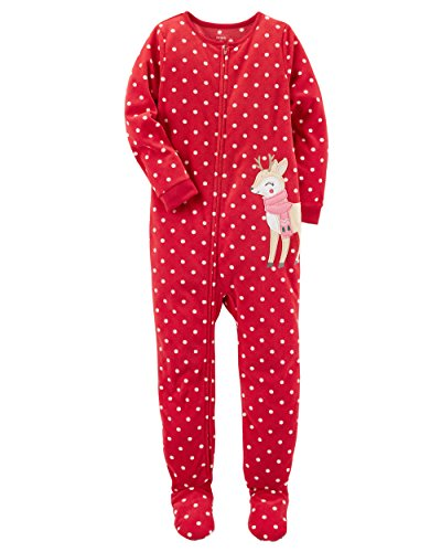 Carters Baby Girls 1-Piece Fleece Pajamas (12 Months, Reindeer)