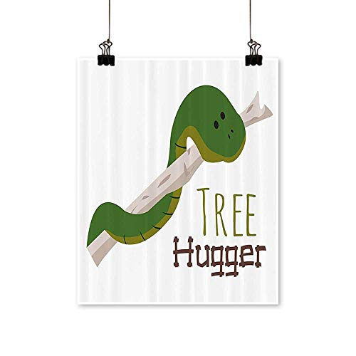 Rich in colorCute Carto Snake Hanging from Tree Hugger Love Mascot Humor Reptiles Comic Home Print Decor for Living Room,20