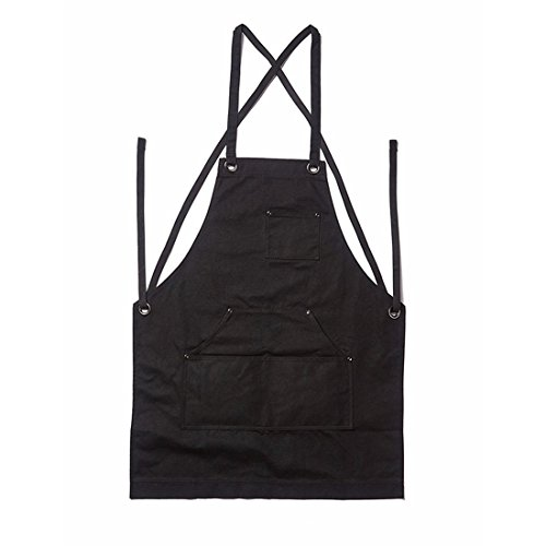 UNKE Heavy Duty Waxed Canvas Work Apron with Multiple Pockets for Kitchen, Garden, Pottery, Craft Workshop from UNKE