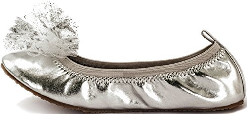 Subibaja Girls' Gala Tinker Bell Slip-On Flat (27, Silver) (Tinkerbell Costumes For Teens)