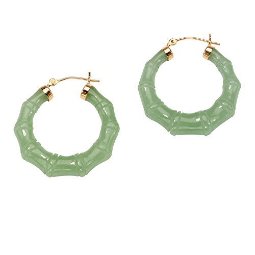 Genuine Green Jade 14k Yellow Gold Bamboo-Style Hoop Earrings (Bamboo Yellow Earrings)
