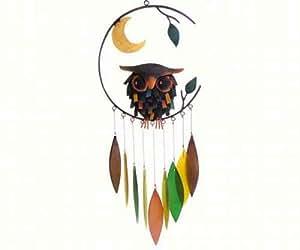Blue Handworks Spiky Owl Glass Wind Chime