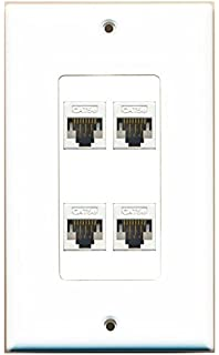 amazon com rca rj45 wall plate white tph552r home audio riteav decorative 1 gang 4 port cat5e wall plate white white