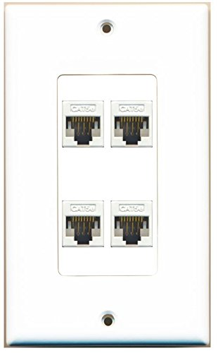 (RiteAV Decorative 1 Gang 4 Port Cat5e Wall Plate - White/White)