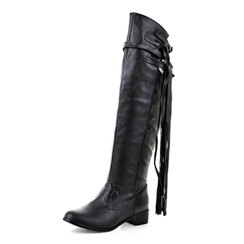 Btrada Dames Over De Knie Dij Hoge Laarzen Tendy Breed Kalf Blok Hiel Kwast Riem Gesp Rijlaarzen Zwart